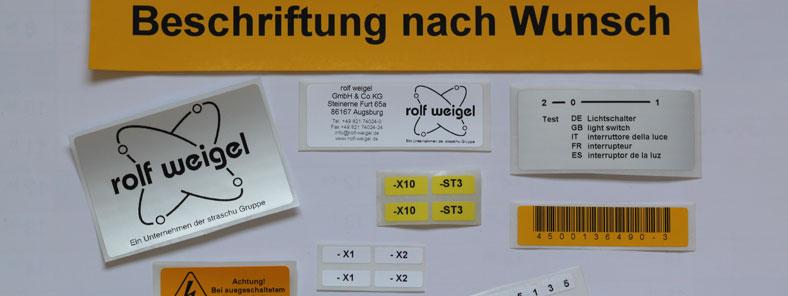 Etiketten und Warnschilder